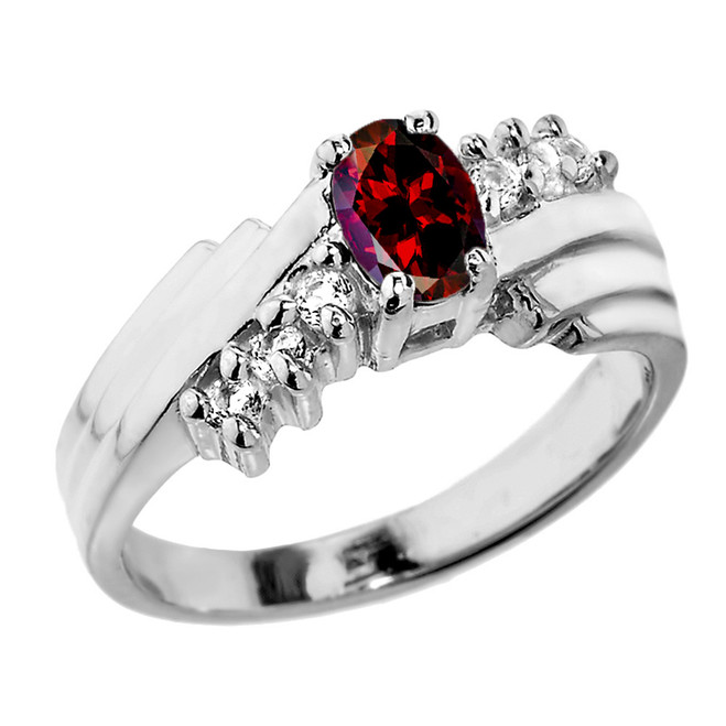 Dazzling White Gold Diamond and Garnet Proposal Ring
