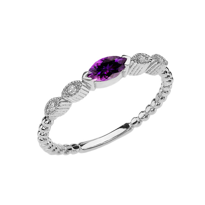 Amethyst and Diamond Marquise Cut Engagement/Proposal Beaded Ring in White Gold