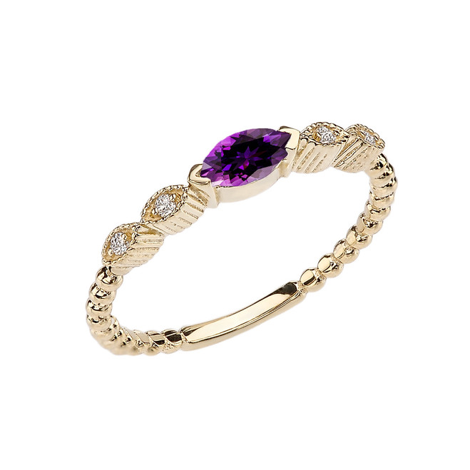 Amethyst and Diamond Marquise Cut Engagement/Proposal Beaded Ring in Yellow Gold