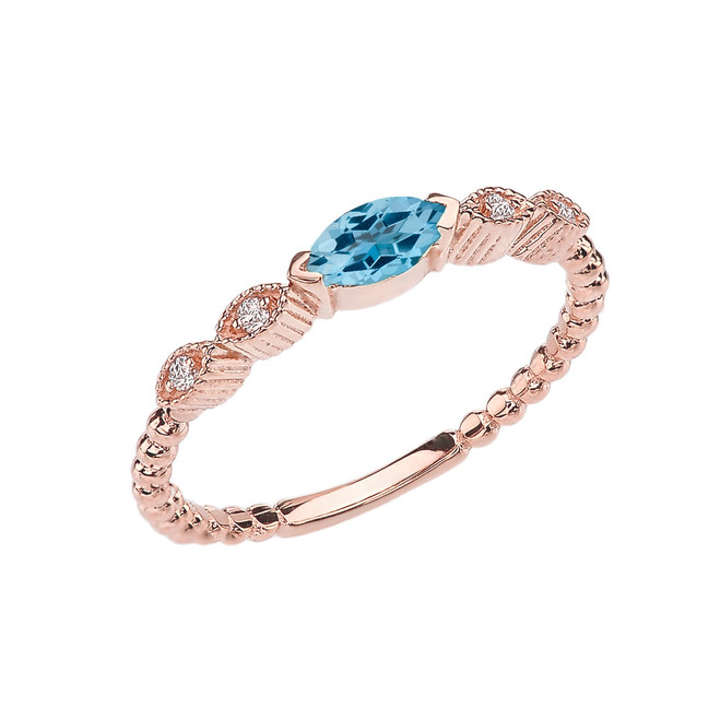 Blue Topaz and Diamond Marquise Cut Engagement/Proposal Beaded Ring in Rose Gold