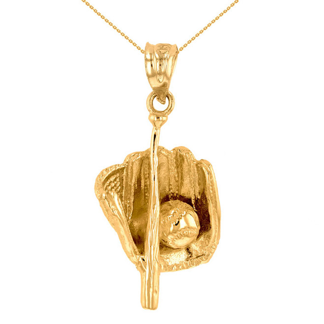 Yellow Gold Baseball Bat and Glove Pendant Necklace