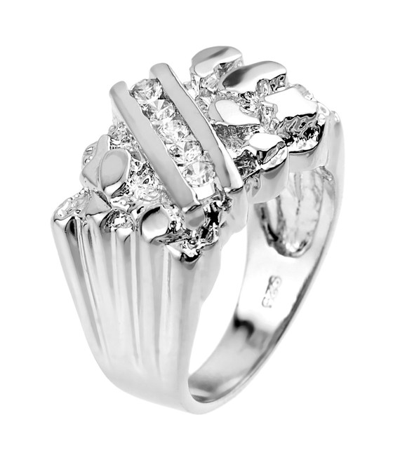 White Gold Cubic Zirconia Men's Signet Nugget Ring
