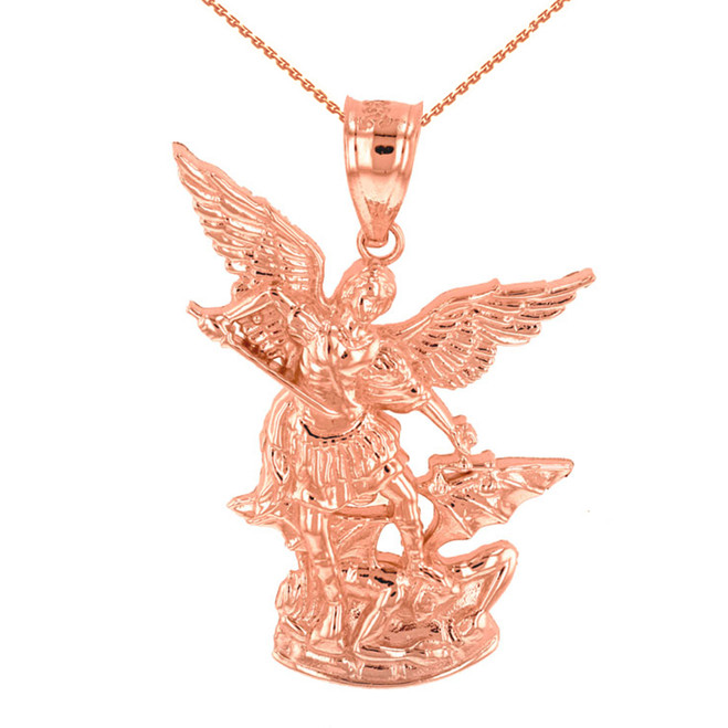 "Rose Gold St Michael The Archangel Pendant Necklace (1.35"")"