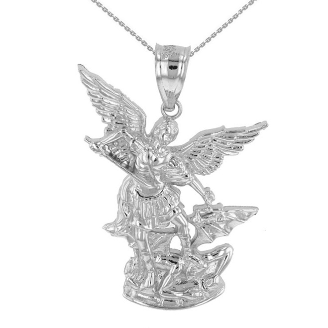 "White Gold St Michael The Archangel Pendant Necklace (1.35"")"