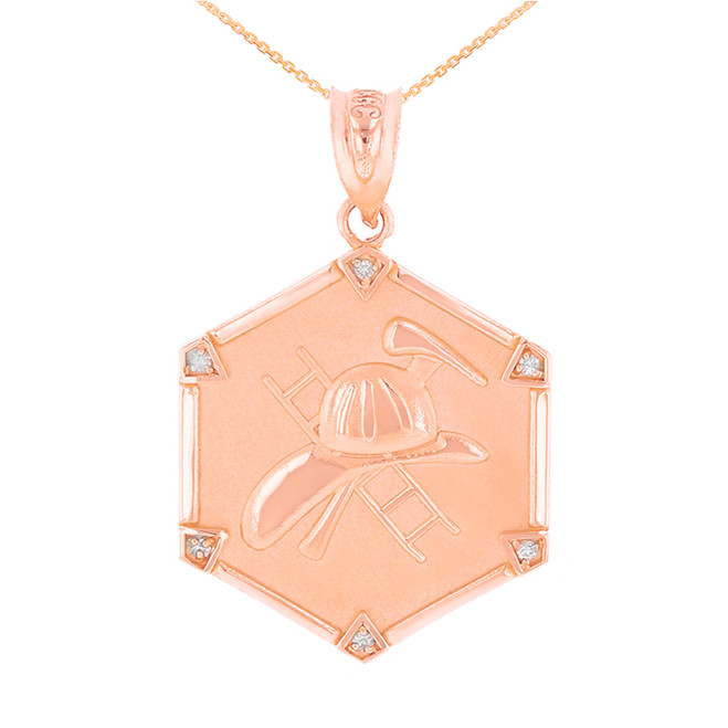 Rose Gold  Firefighter Hexagon Diamond Pendant Necklace