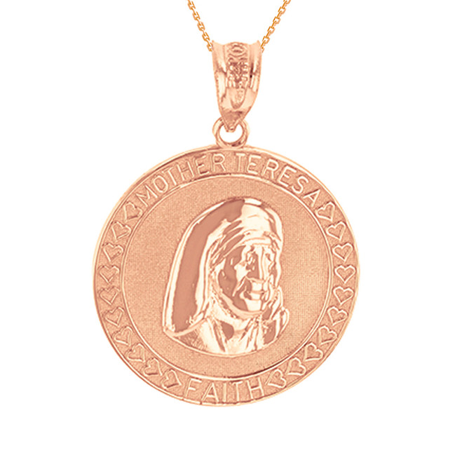 Rose Gold Mother Teresa of Calcutta Pendant Necklace