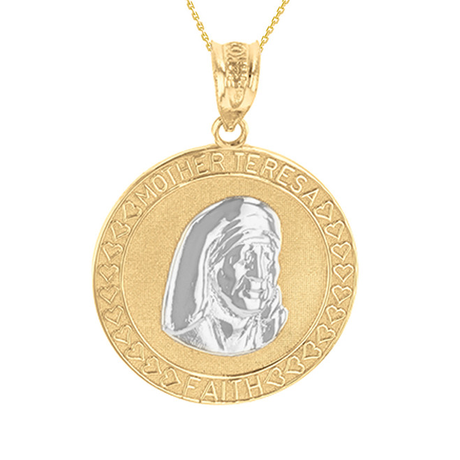 Two Tone Yellow Gold Mother Teresa of Calcutta Pendant Necklace