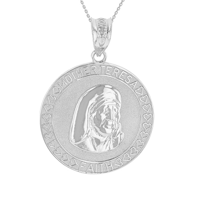 White Gold Mother Teresa of Calcutta Pendant Necklace