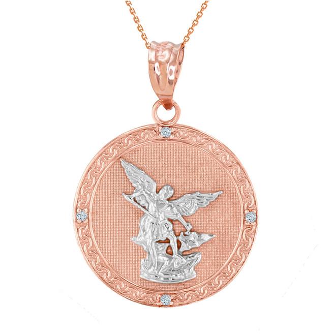 "Two Tone Rose Gold St Michael Archangel Diamond Pendant Necklace ( 1.14"" )"