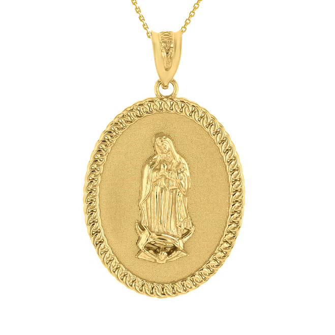 "Solid Yellow Gold Cuban Link Framed  Virgen de Guadalupe Oval Medallion Pendant Necklace  (1.29"")"