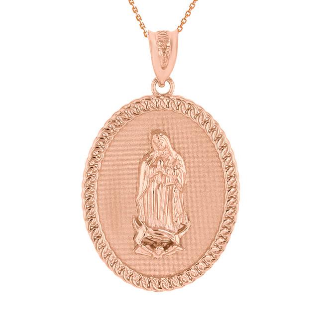 """Solid Rose Gold Cuban Link Framed  Virgen de Guadalupe Oval Medallion Pendant Necklace  (1.29"""")"""
