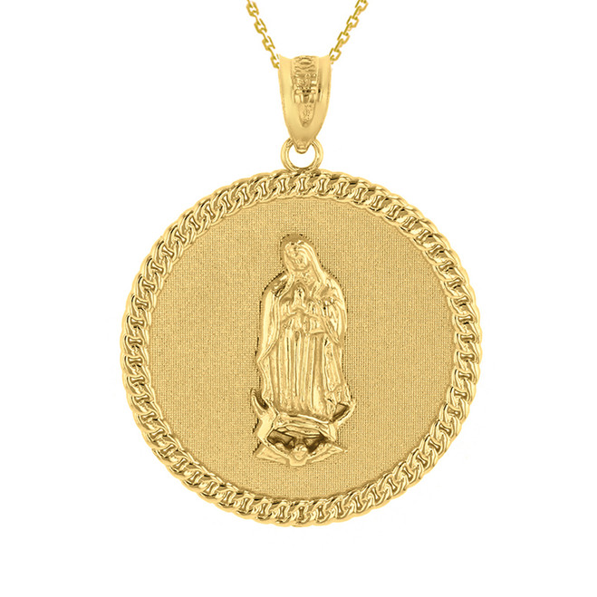 "Solid Yellow Gold Cuban Link Framed Virgen de Guadalupe Circle Medallion Pendant Necklace (1.18"")"