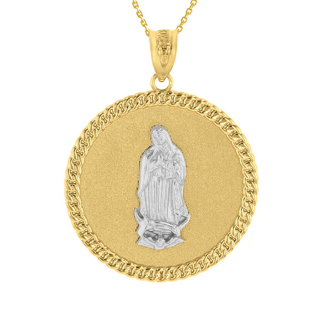 "Two Tone Solid Yellow Gold Cuban Link Framed Virgen de Guadalupe Circle Medallion Pendant Necklace (1.18"")"