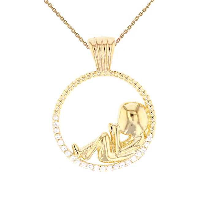 Yellow Gold Baby in Womb Pendant Necklace