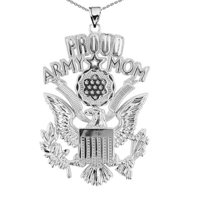 White Gold Proud Army Mom Pendant Necklace