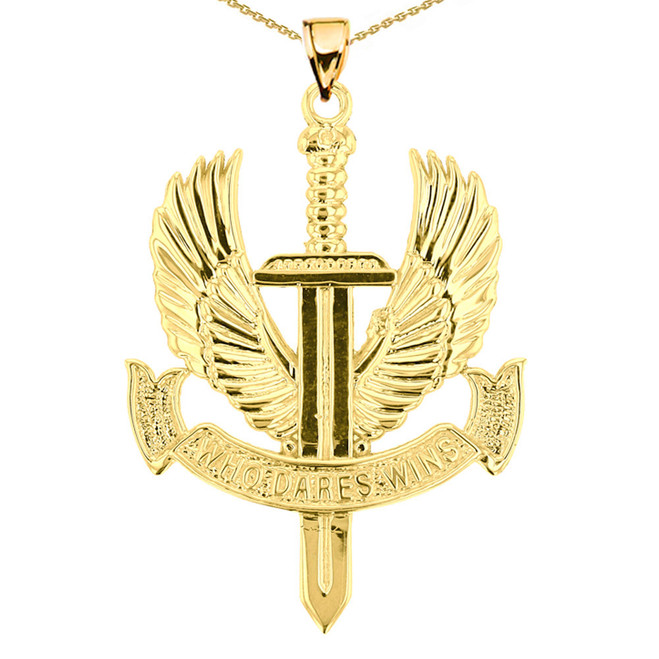 Yellow Gold Who Dares Wins Pendant Necklace