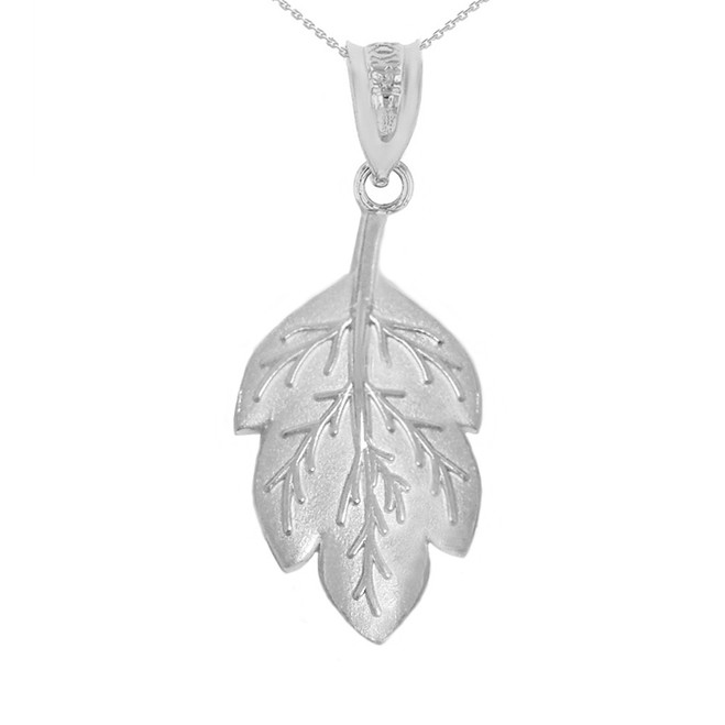 Solid White Gold Matte Detailed Textured Leaf Pendant Necklace