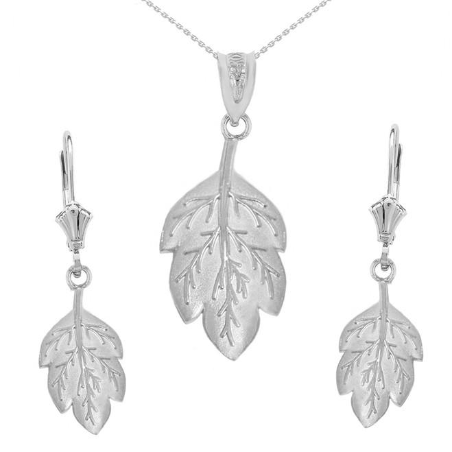 14K Solid White Gold Matte Detailed Textured Leaf Pendant Earring Set