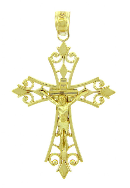 Yellow Gold Crucifix Pendant - The Worship Crucifix