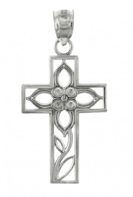 White Gold Cross Pendant - The Beauty Cross