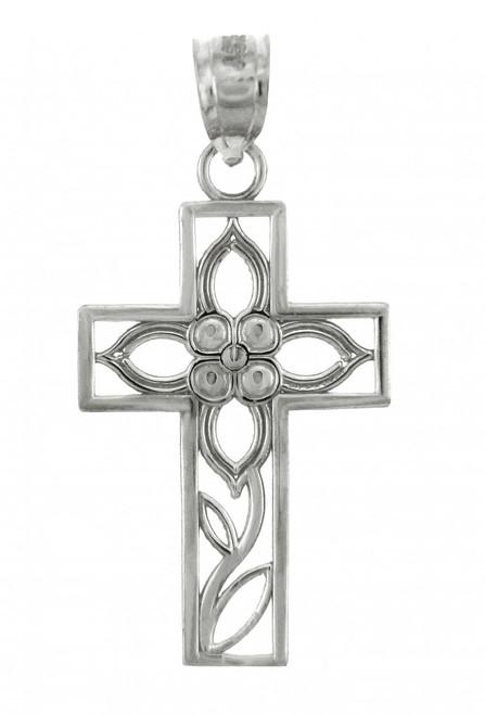 White Gold Cross Pendant - The Beauty Cross