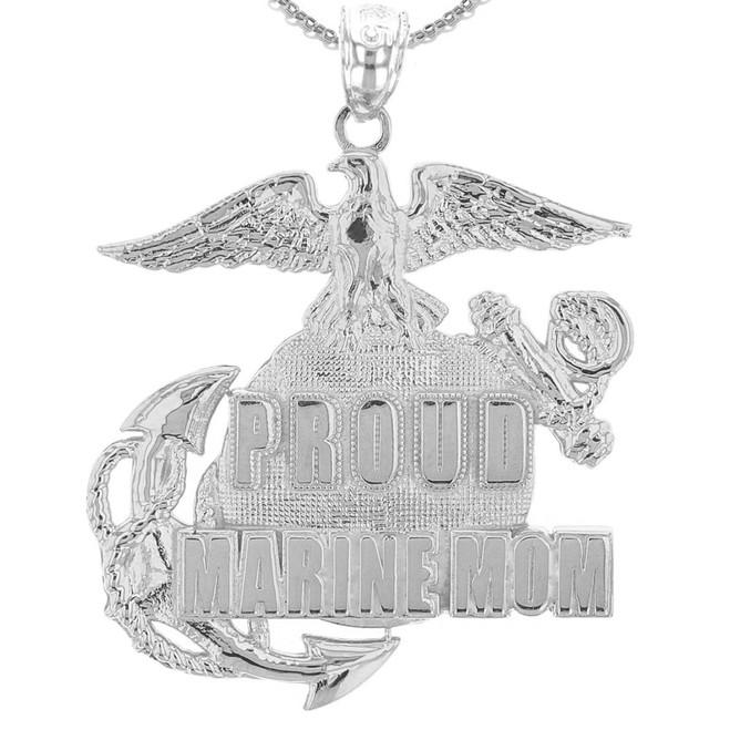 White Gold Proud Marine Mom Pendant Necklace