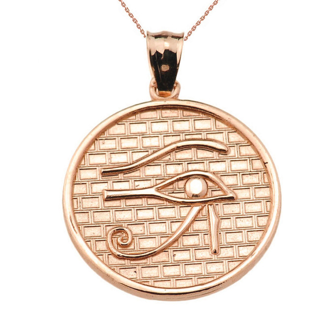 Rose Solid Gold Eye of Horus Round Charm Pendant (13 steps)