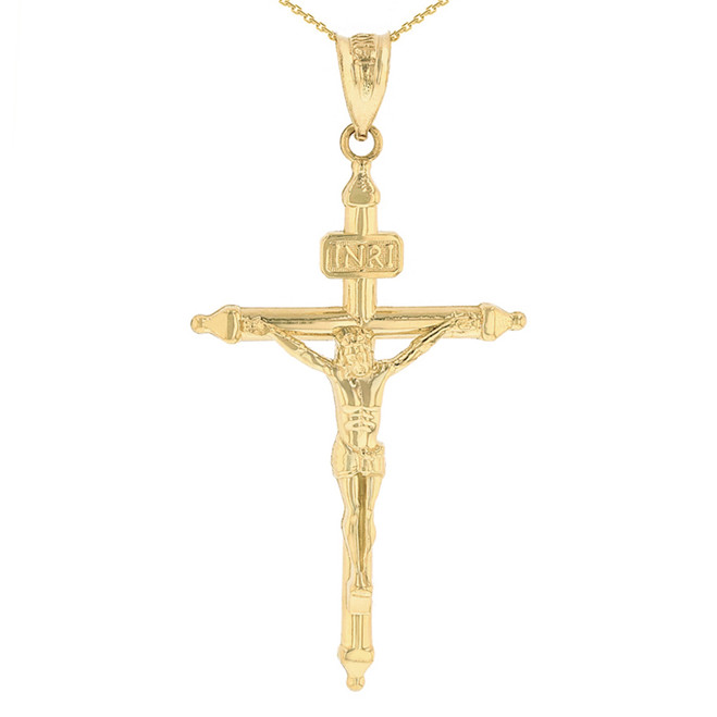 """Solid Yellow Gold INRI Christ Passion Cross Crucifix Pendant Necklace 1.7"""" (43 mm)"""