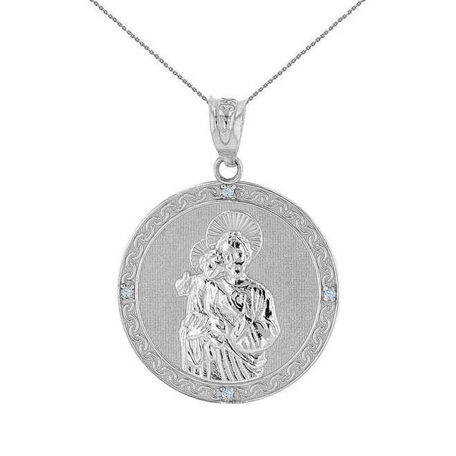 """Sterling Silver Saint Joseph CZ Medallion Pendant Necklace  1.04"""" ( 26 mm)"""