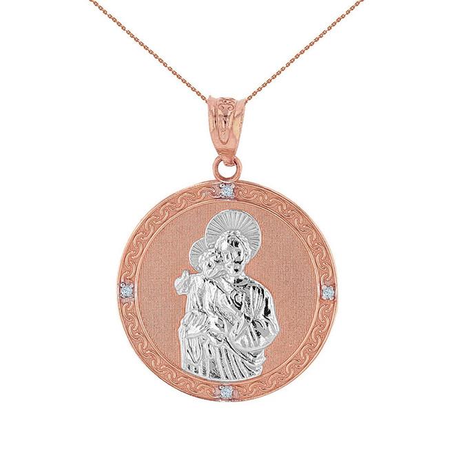 "Two Tone Solid Rose Gold Saint Joseph Diamond Medallion Pendant Necklace  1.04"" ( 26 mm)"