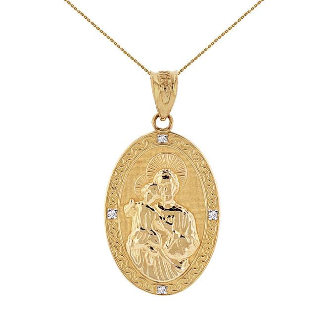"Solid Yellow Gold Saint Joseph Diamond Oval Medallion Pendant Necklace 1.02""  (25  mm)"