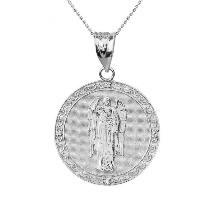 """Solid White Gold Archangel Saint Gabriel Diamond Medallion Pendant Necklace   1.15"""" ( 29 mm)"""