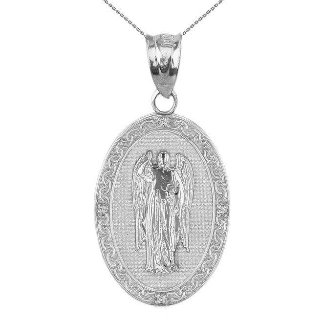 "Sterling Silver Archangel Saint Gabriel CZ Oval Medallion Pendant Necklace 1.19"" (  30 mm)"
