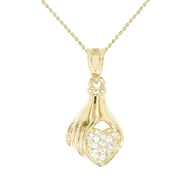 Yellow Gold Hand Holding Heart Diamond Pendant Necklace