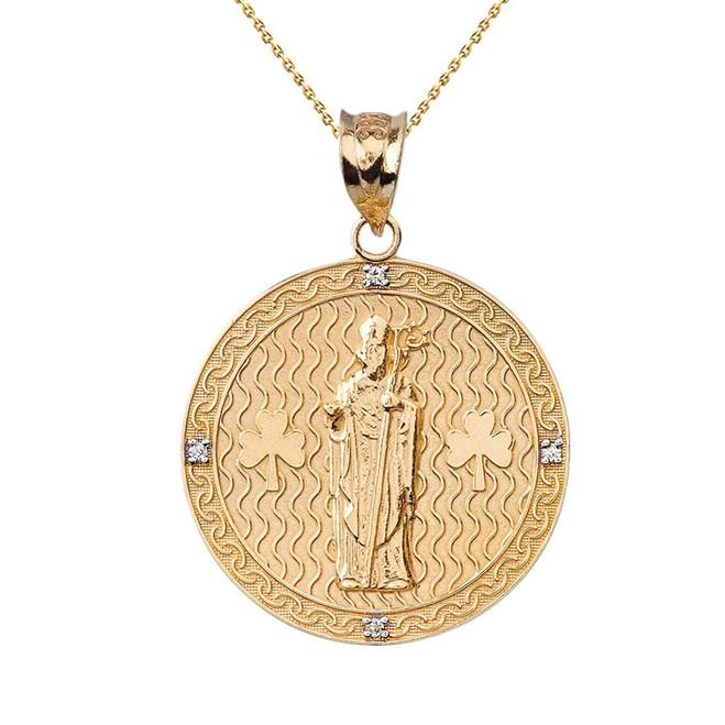"Solid Yellow Gold Saint Patrick Shamrock Diamond Medallion Pendant Necklace 1.16""  (29 mm)"