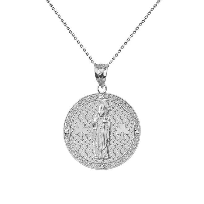 "Solid White Gold Saint Patrick Shamrock Diamond Medallion Pendant Necklace 1.05"" (26 mm)"