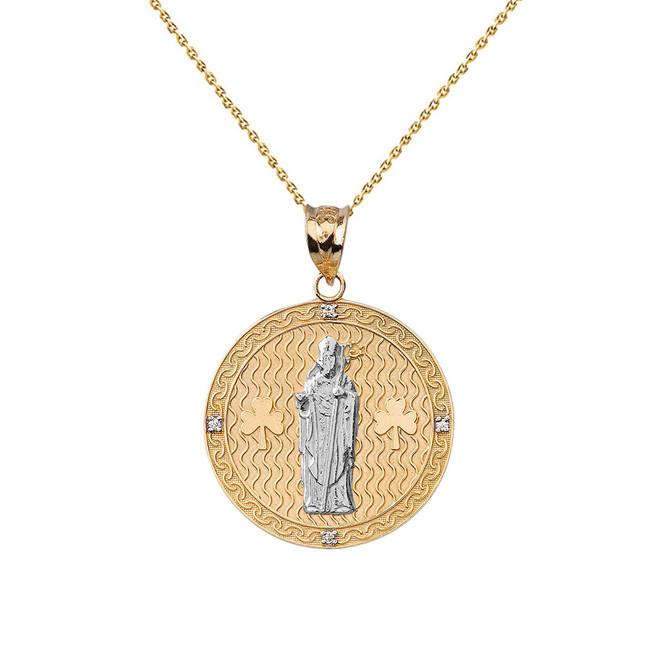 "Two Tone Solid Yellow Gold Saint Patrick Shamrock Diamond Medallion Pendant Necklace 1.05"" (26 mm)"