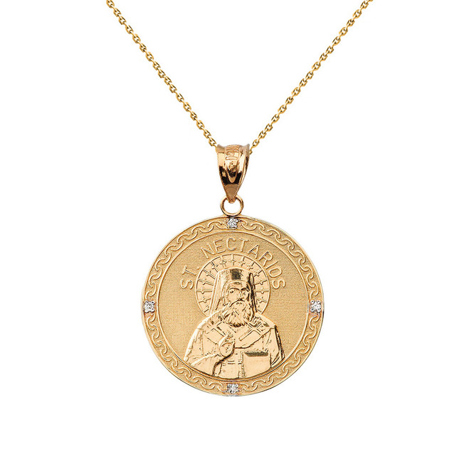 "Solid Yellow Gold Greek Orthodox Saint Nectarios of Aegina Engravable Diamond Medallion Pendant Necklace  1.01"" (25 mm)"