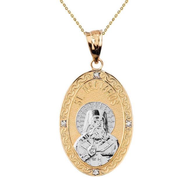 "Two Tone Solid Yellow Gold Greek Orthodox Saint Nectarios of Aegina Engravable Diamond Medallion Oval Pendant Necklace  1.18"" (29 mm)"