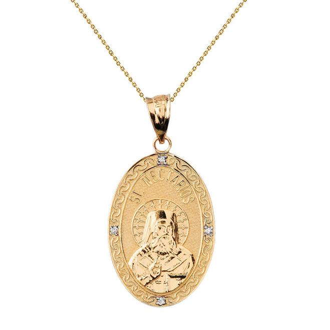 "Solid Yellow Gold Greek Orthodox Saint Nectarios of Aegina Engravable Diamond Medallion Oval Pendant Necklace  1.00"" (25 mm)"