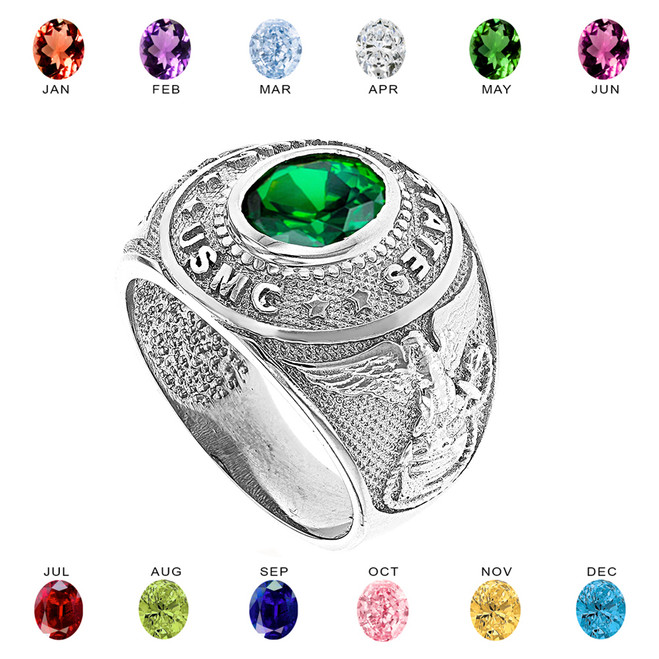 Solid White Gold United States Marine Corps Men's CZ Birthstone Ring