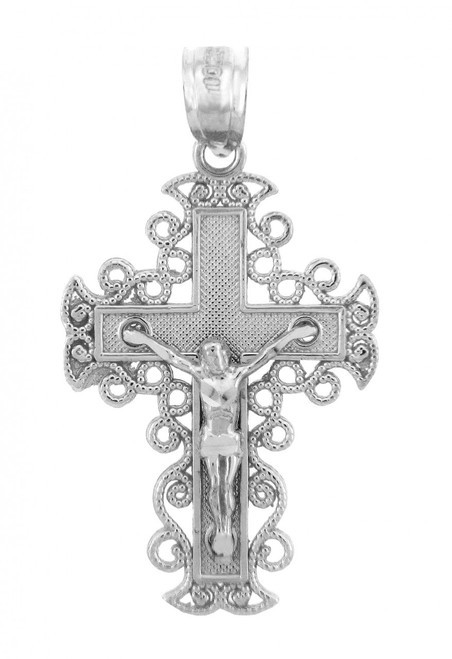 White Gold Crucifix Pendant - The Rejoice Crucifix