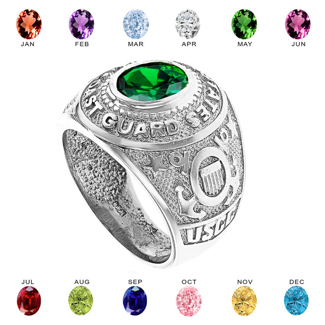 Solid White Gold United States Coast Guard Men's CZ Birthstone Ring