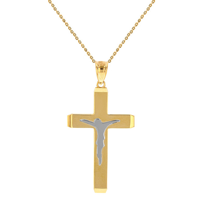 "Two Tone Solid Yellow Gold Layered Cross Jesus Christ Silhouette Pendant Necklace  1.23"" (31  mm)"