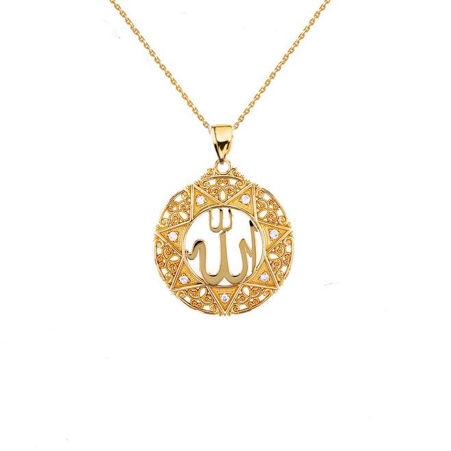 "Yellow Gold Diamond Filigree Round Allah Pendant Necklace ( 1"" )"