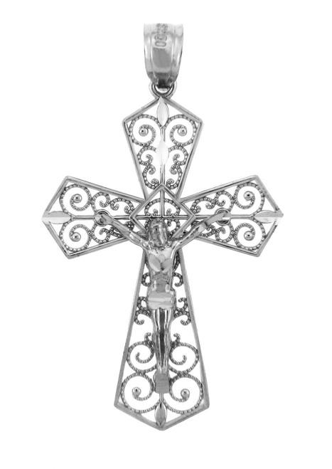 White Gold Crucifix Pendant - The Beloved Crucifix