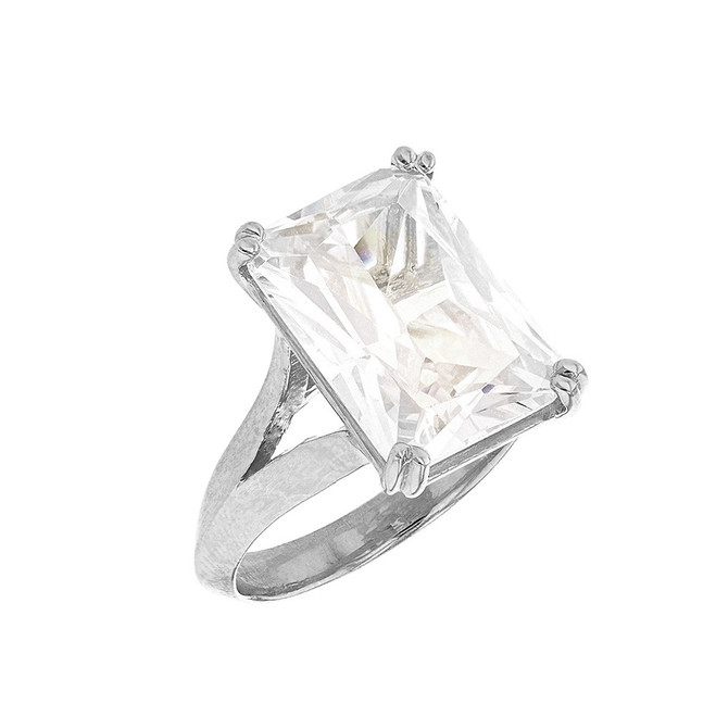 Sterling Silver Solitaire Emerald Cut Cubic Zirconia  Engagement Ring