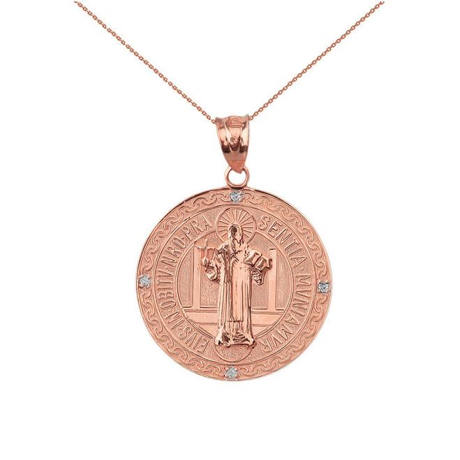 "Solid Rose Gold Saint Benito Engravable Diamond Medallion Pendant Necklace  1.03"" ( 26 mm)"