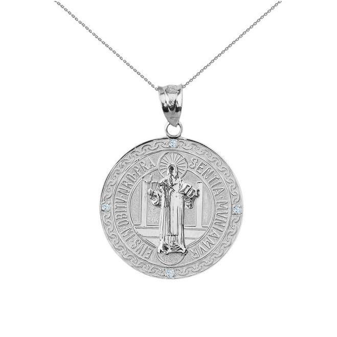 "Sterling Silver Saint Benito Engravable CZ Medallion Pendant Necklace  1.03"" ( 26 mm)"