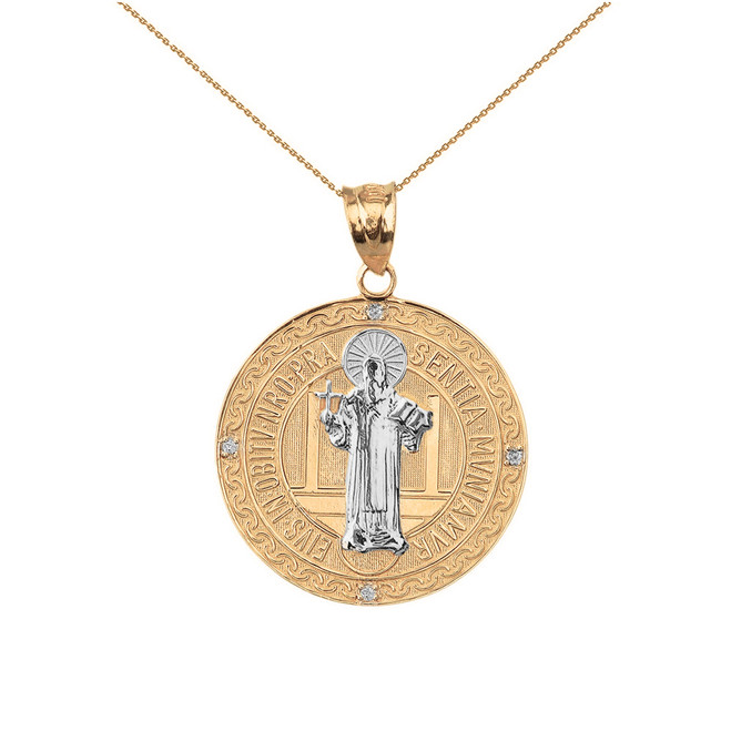 "Two Tone Solid Yellow Gold Saint Benito Engravable Diamond Medallion Pendant Necklace  1.03"" ( 26 mm)"